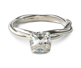 Woven rope cushion cut diamond solitaire engagement ring