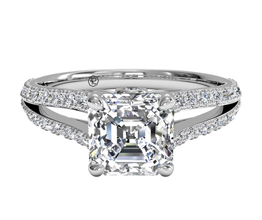 R Asscher Cut Double French Set Diamond V Engagement Ring.24 CTW 1 - Asscher cut engagement rings