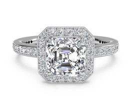 Halo Asscher Cut Micropavé Diamond Band Engagement Ring