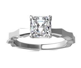 Asscher Cut Octagon Solitaire Engagement Ring