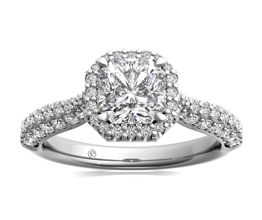 Three Row Pavé Diamond Halo Engagement Ring