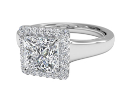 Cushion French-Set Halo Diamond Engagement Ring