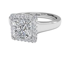 R Cushion French Set Halo Diamond Engagement Ring - Princess cut engagement rings
