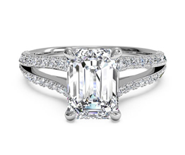 Double French-Set Diamond 'V' Engagement Ring With Surprise Diamonds