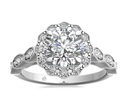 Floral Halo And Marquise Diamond Engagement Ring