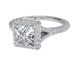French-Set Halo Diamond 'V' Band Engagement Ring