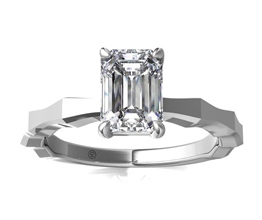Octagon Solitaire Emerald Cut Engagement Ring