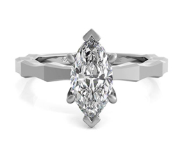 Octagon Solitaire Marquise Diamond Engagement Ring