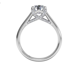 R Round Cut Solitaire Diamond Engagement Ring with Pave Tulip Detail - Round Engagement Rings