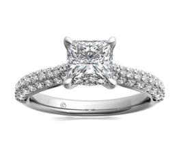 R Three Row Pave Diamond Engagement Ring 2 - Princess cut engagement rings