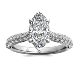 Three Row Pavé Diamond Engagement Ring