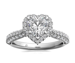 Three Row Pavé Heart Diamond Halo Engagement Ring