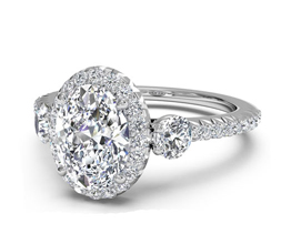 Three-Stone Halo Diamond Band Engagement Ring