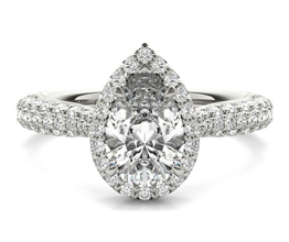 Ritani Three Row Pavé Diamond Halo Engagement Ring
