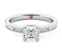 TH Cosmic Asscher diamond centre and channel set diamond ring 1 - Asscher cut engagement rings