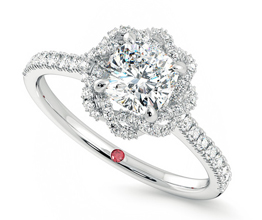 'Entwine' halo cushion cut diamond ring
