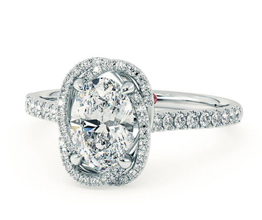 'Entwine' oval halo engagement ring