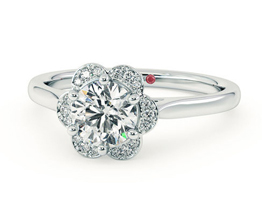 Fleur floral halo engagement ring