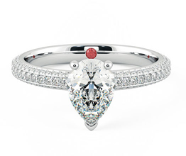 Halcyon pavé pear diamond engagement ring
