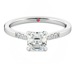 Lissome Asscher diamond centre and pavé diamond ring