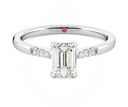 'Lissome' pavé diamond band emerald engagement ring