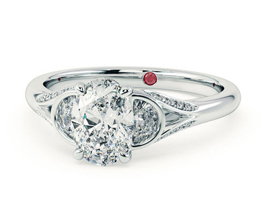 'Luna' Oval diamond centre and half-moon side diamond engagement ring