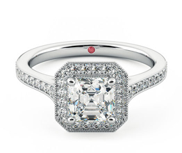 Talisman Asscher diamond halo ring with hand-applied milgrain