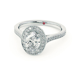 Talisman' Oval diamond centre and bead-set diamond halo engagement ring