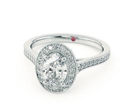 TH Talisman Oval diamond centre and bead set diamond halo engagement ring - Oval Engagement Rings