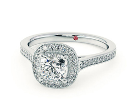 'Talisman' cushion cut diamond engagement ring