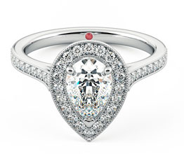 Talisman pear diamond halo engagement ring
