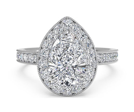 Vintage Halo Diamond Engagement Ring With Surprise Diamonds