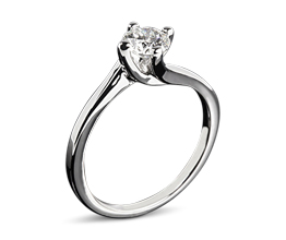 'Carina' four prong twisted solitaire engagement ring