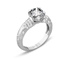 Palladium Champagne Diamond Engagement Ring