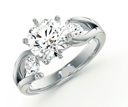 Floral three stone engagement ring