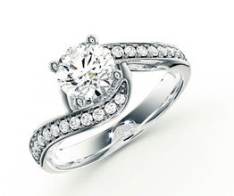 Twisted pavé diamond engagement ring