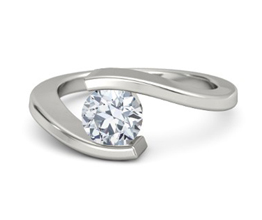 g ocean round diamond palladium ring 1 - Solitaire engagement rings