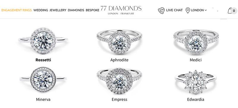 77 diamonds halo diamond rings - 77 Diamonds review