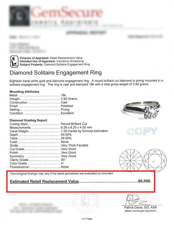 diamond ring appraisal certificate - How to sell a diamond ring