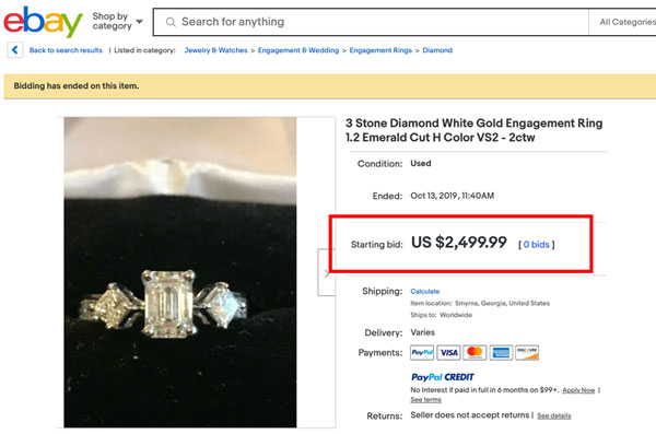 dont buy engagement ring ebay - How to sell a diamond ring
