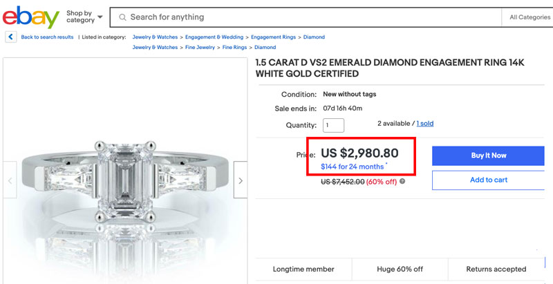 ebay brand new emerald cut diamond - How to sell a diamond ring
