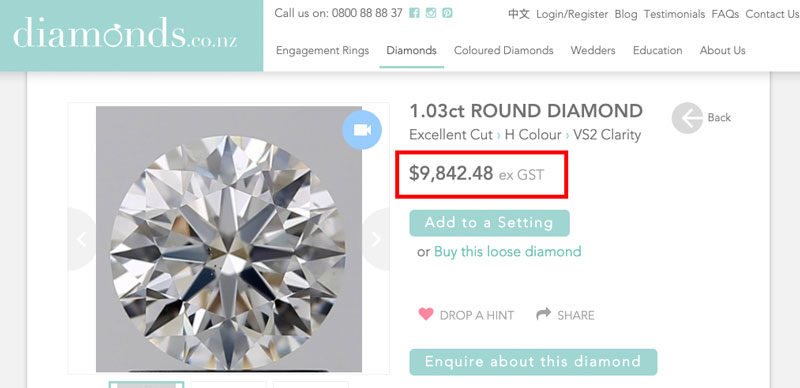 H Vs2 round brilliant diamond price new zealand e1573192454794 - Importing a diamond or engagement ring into New Zealand