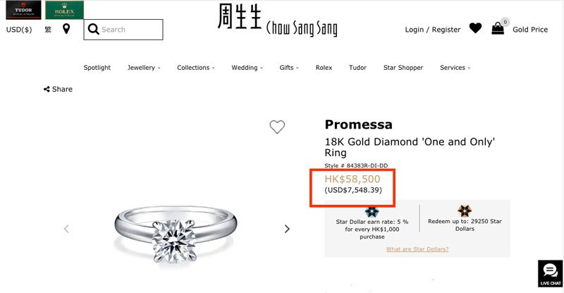 chow sang sang diamong ring - Importing a diamond or engagement ring into Hong Kong
