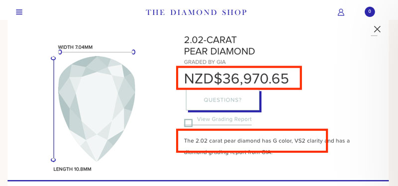 local pear diamond - Importing a diamond or engagement ring into New Zealand