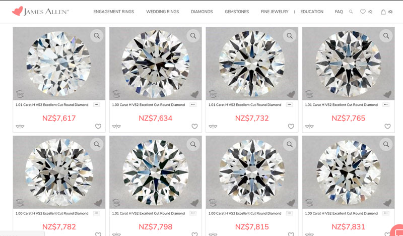 price of diamonds in nzd from us retailer