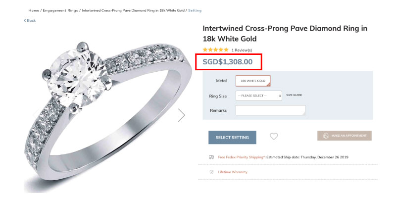white gold pave diamond ring singapore - Importing a diamond or engagement ring into Singapore