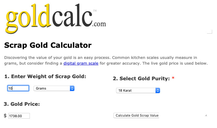 gold calculator - The best place to sell gold for cash