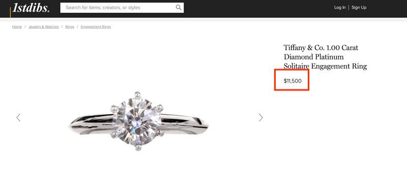 Tiffany engagent ring on 1st Dibs auction website