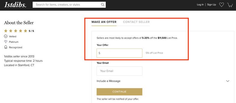 1st dibs website make offer on price