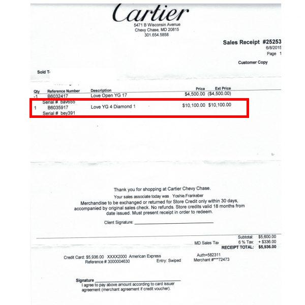 cartier jewelry receipt - Jewelry appraisal: ultimate guide